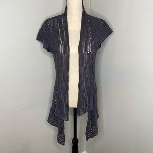 Cabi crochet blue knit cardigan -S